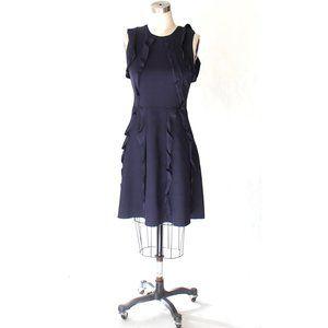 Valentino Ruffle Trim Knit Sleeveless Dress